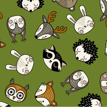 Fabric 16073 | Woodland Animal heads // green
