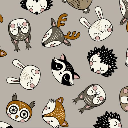 Fabric 16074 | Woodland Animal heads // grey
