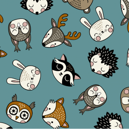 Tkanina 16075 | Woodland Animal heads // teal