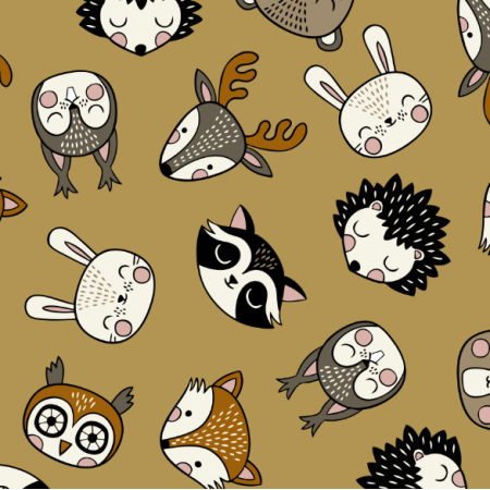Tkanina 16076 | Woodland Animal heads // mustard