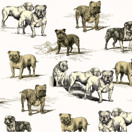 Tkanina 16116 | PSY BULDOGI - BULDOG DOGS