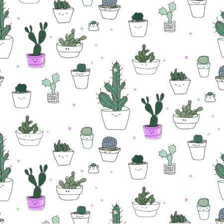 Tkanina 16178 | Funny cacti / Uśmiechnięte kaktusy