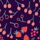 Fabric 16195   Small scale summer. fruits, ice cream, rain, swimming.