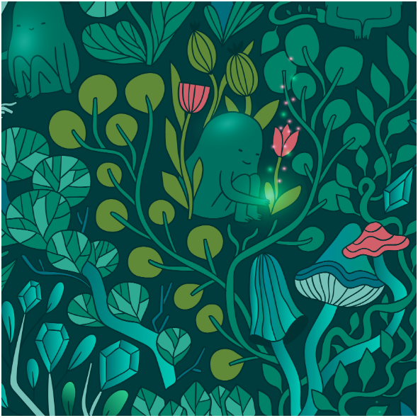 Fabric 16201 | Small emerald forest design.