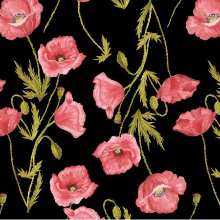 Fabric 16234 | Maki czarne tło