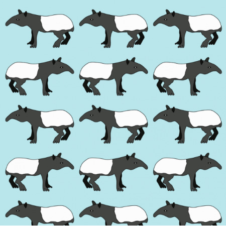 Tkanina 16262 | Dymi Blue Tapirs