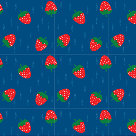 Fabric 16316 | Truskawka Strawberry navy blue