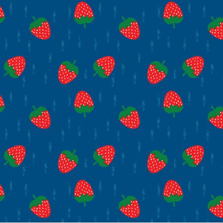 Fabric 16316 | Truskawka Strawberry navy blue