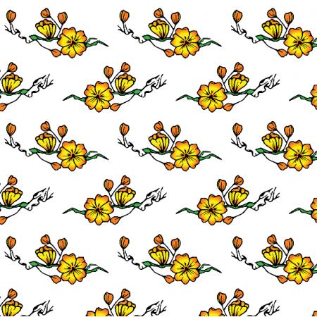 Fabric 16328 | Kwiaty na bialym