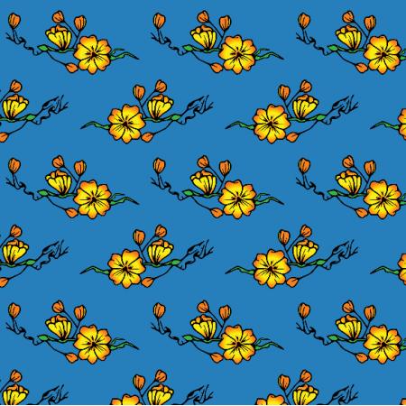 Tkanina 16329 | Kwiaty na Niebieskim