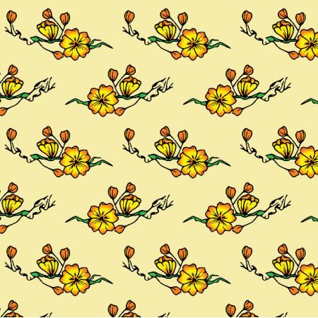 Tkanina 16330 | Kwiaty na żółtym