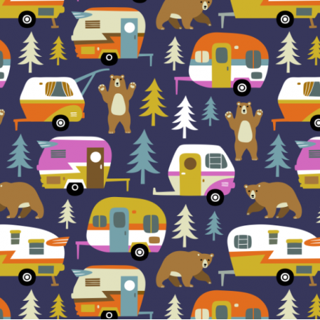Fabric 16357 | Camping cars ans bears - dark blue
