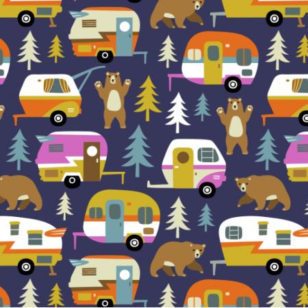 16357 | Camping cars ans bears - dark blue