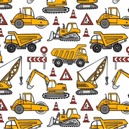 Fabric 16359 | construction cars // white
