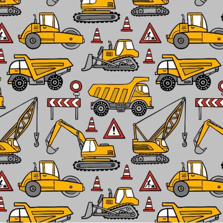 Fabric 16360 | construction cars // grey