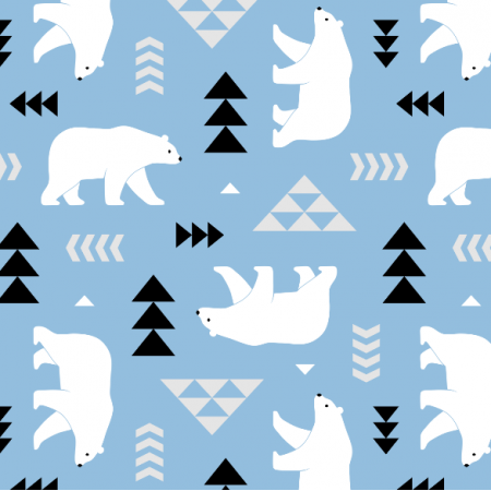 Tkanina 16364 | polar bears // light blue