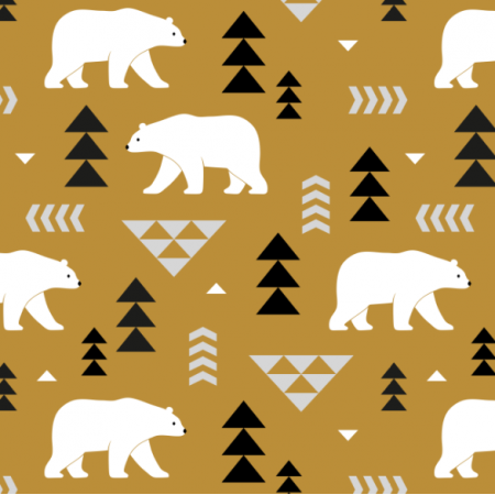 Fabric 16365 | polar bears // mustard