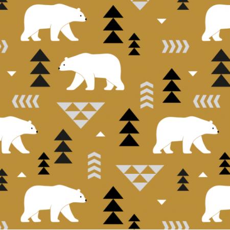 Tkanina 16365 | polar bears // mustard