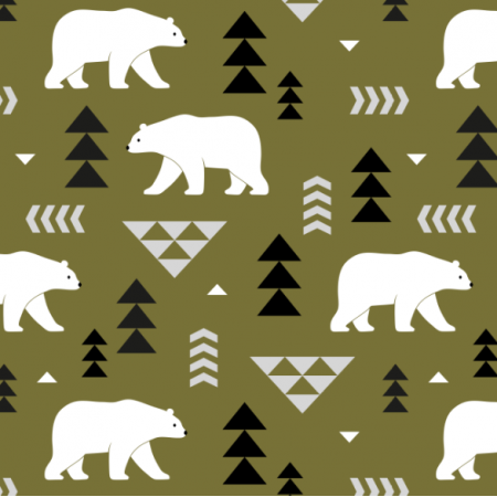 Fabric 16366 | polar bears // olive