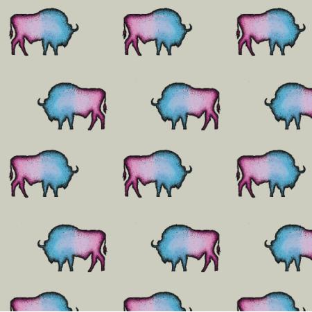 Fabric 16441 | Żubry na ecru