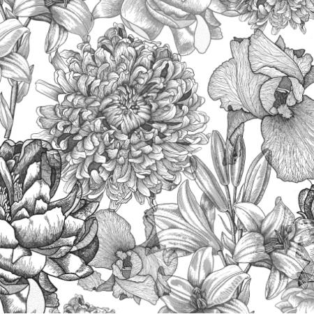 16457 | Kwiaty na białym
