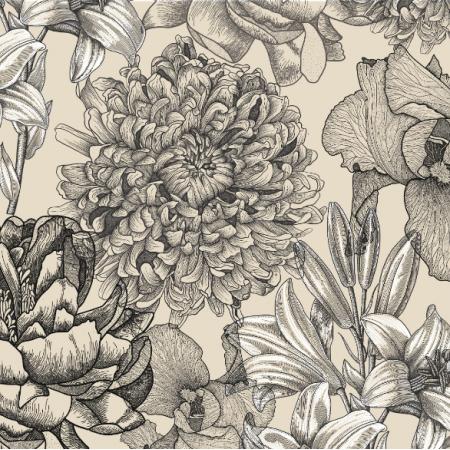 Fabric 16458 | Kwiaty na ecru