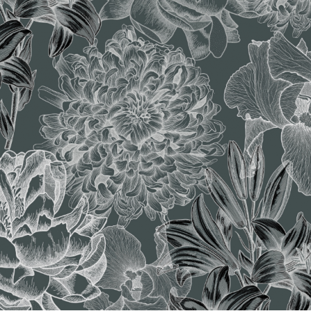 | Kwiaty na ciemnozielonym