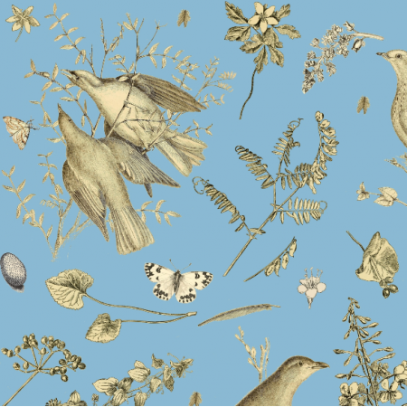 Fabric 16474 | PTAKI NA NIEBIESKIM - BIRDS ON THE BLUE SKY