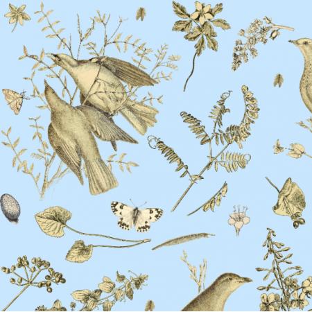 Fabric 16478 | PTAKI NA BŁĘKITNYM TLE