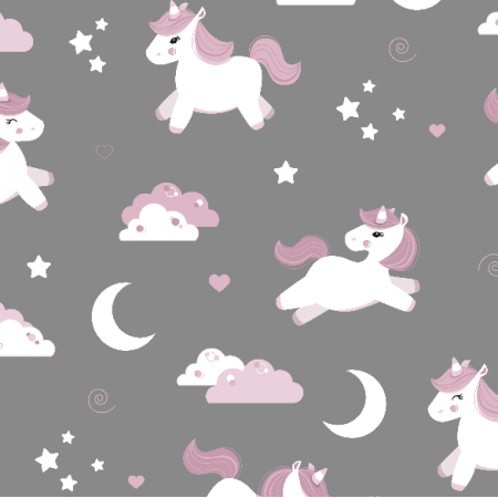 Tkanina 16491 | Unicorns on grey