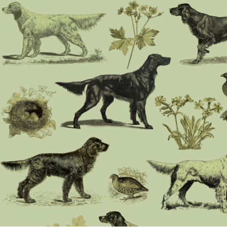 Fabric 16513 | PSY SETERY W ZIELENI - SETTER DOGS ON GREEN