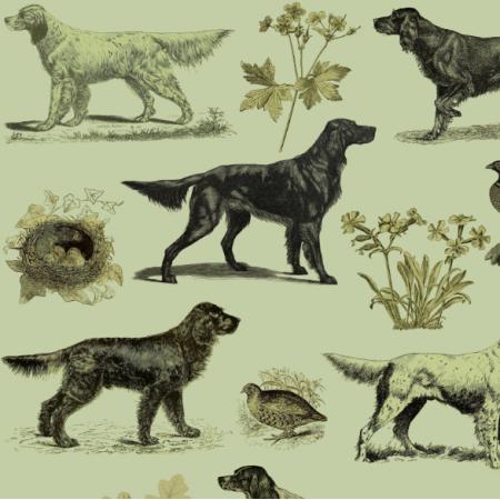 Tkanina 16513 | PSY SETERY W ZIELENI - SETTER DOGS ON GREEN