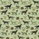 Fabric 16513   PSY SETERY W ZIELENI - SETTER DOGS ON GREEN