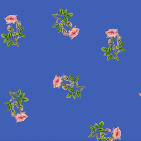 Tkanina 16521 | RÓŻYCZKI NA SZAFIROWYM TLE - ROSES ON PALACE BLUE