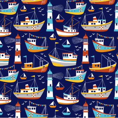 Fabric 16552 | Fishing boats