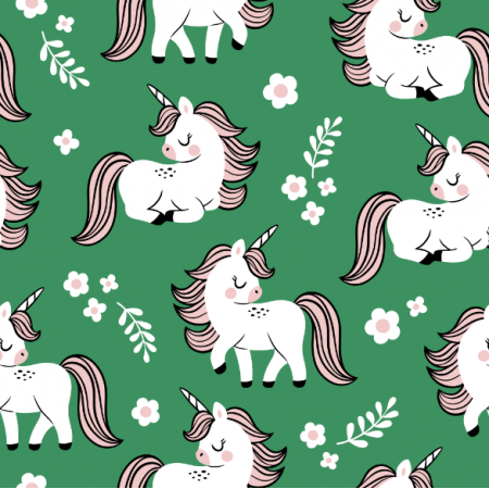 Fabric 16559 | baby unicorns // green