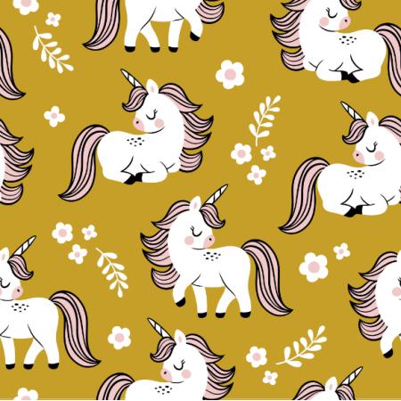 Fabric 16560 | baby unicorns // mustard
