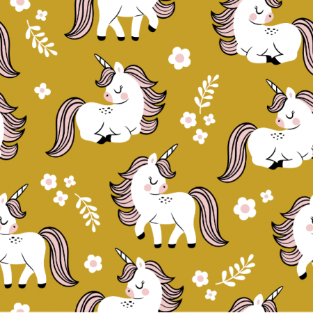 Fabric 16560 | baby unicorns // mustard