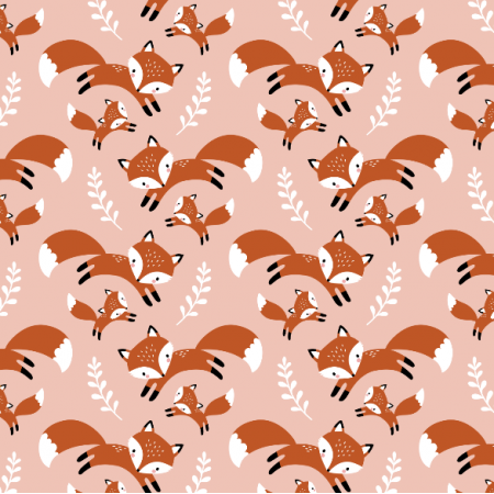 Fabric 16561 | cute fox family // blush