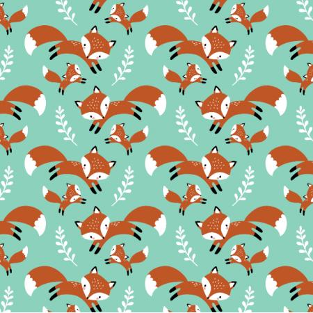 Tkanina 16563 | cute fox family // mint