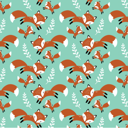 Fabric 16563 | cute fox family // mint