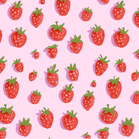 Fabric 16564 | Truskawki na różowym tle / Strawberries on a pink background