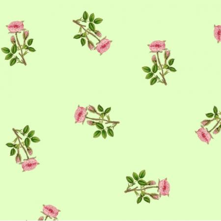 Tkanina 16566 | RÓŻYCZKI NA ZIELONYM TLE - ROSES ON GREEN
