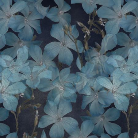 Fabric    Len niebieski na granacie
