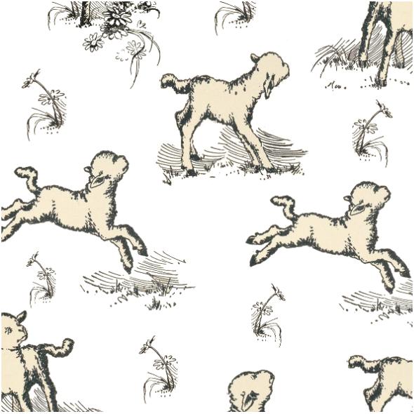 Fabric 16592   OWIECZKI NA BIAŁYM TLE - ShEEP ON WHITE BACKGROUND
