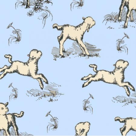 Fabric 16594 | OWIECZKI NA NIEBIESKIM TLE