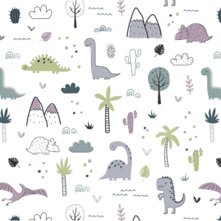 16603 | Childish pattern with dinosaurs and palm trees00000
