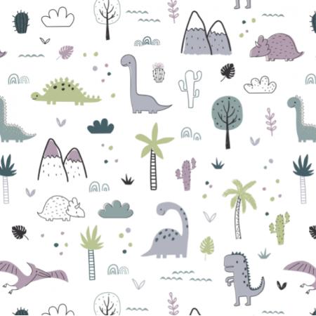 Tkanina 16603 | Childish pattern with dinosaurs and palm trees00000