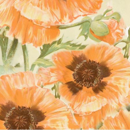 Fabric 16611 | DUŻE KWIATY MAKI NA BIAŁYM TLE