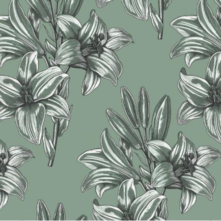 Fabric 16616 | Lilie na zielonym